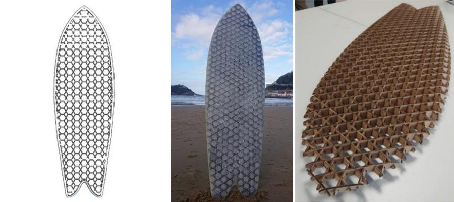 Tabla de surf ganadora. Foto: Fomento San Sebastián (twitter)