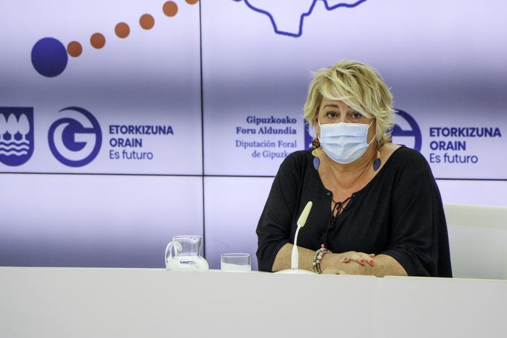 Imagen de archivo. Aintzane Oiarbide en rueda de prensa. Foto: Diputación Foral de Gipuzkoa
