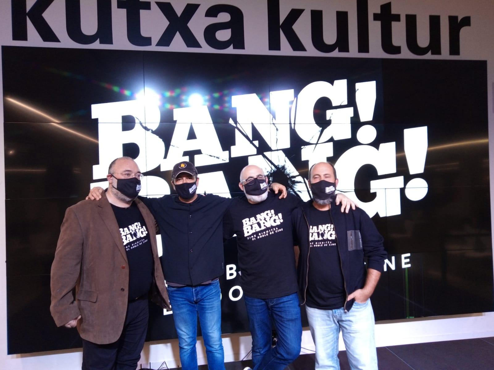 El equipo de Bang Bang Zinema ayer en Kutxa Kultur. plaza. Foto: A.E.