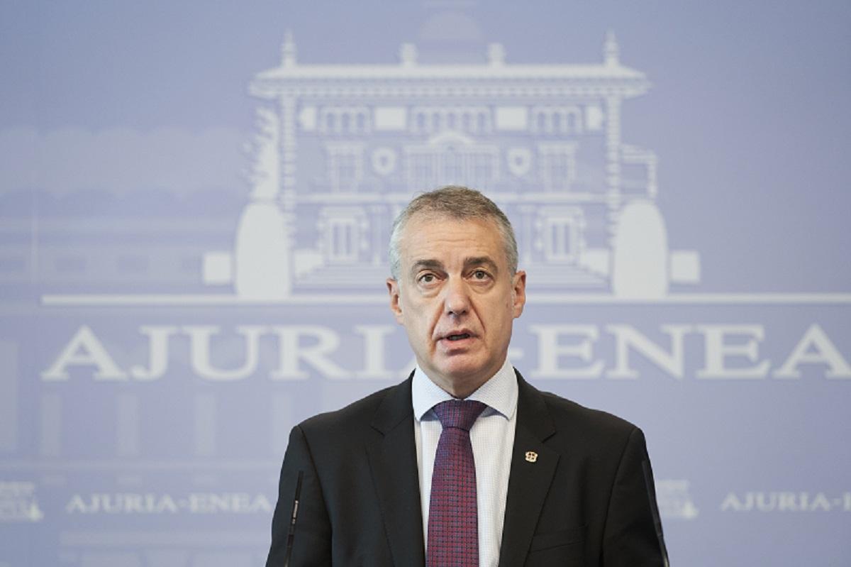 Iñigo Urkullu en su comparecencia de esta tarde. Foto: Gobierno vasco