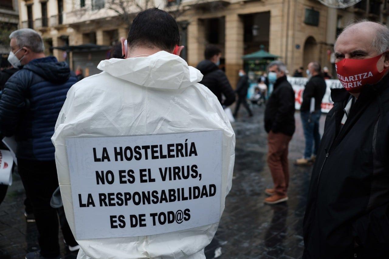 Manifestación hostelera del 27 de noviembre en Donostia. Foto: Santiago Farizano