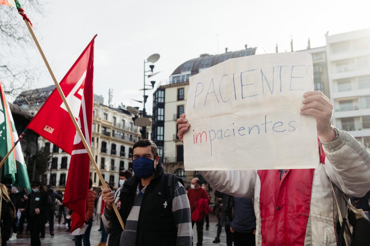Manifestación sindical durante la huelga de Osakidetza. Foto: Santiago Farizano
