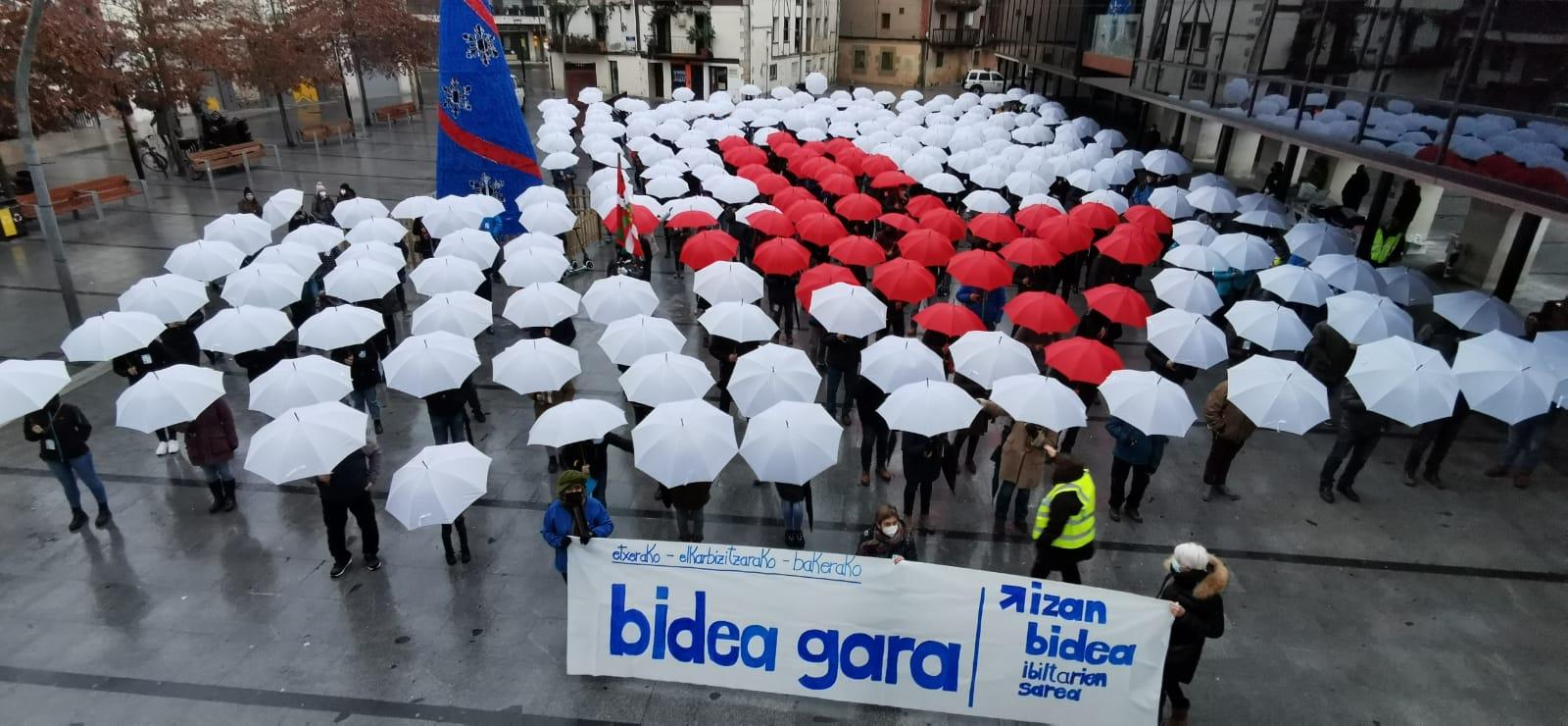 Archivo. Acto en Lasarte-Oria en enero por el acercamiento de los presos. Foto: Sare #IzanBidea
