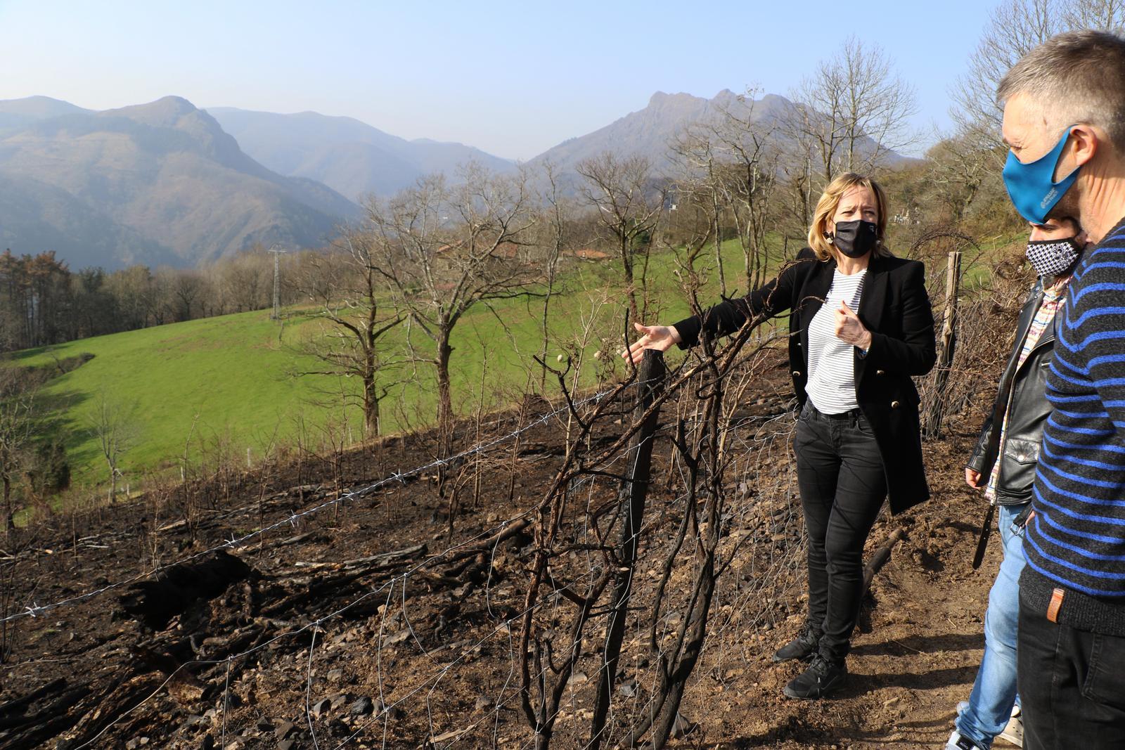 Visita de la diputada Eider Mendoza a la zona afectada por el fuego en Irun. Foto: Diputación