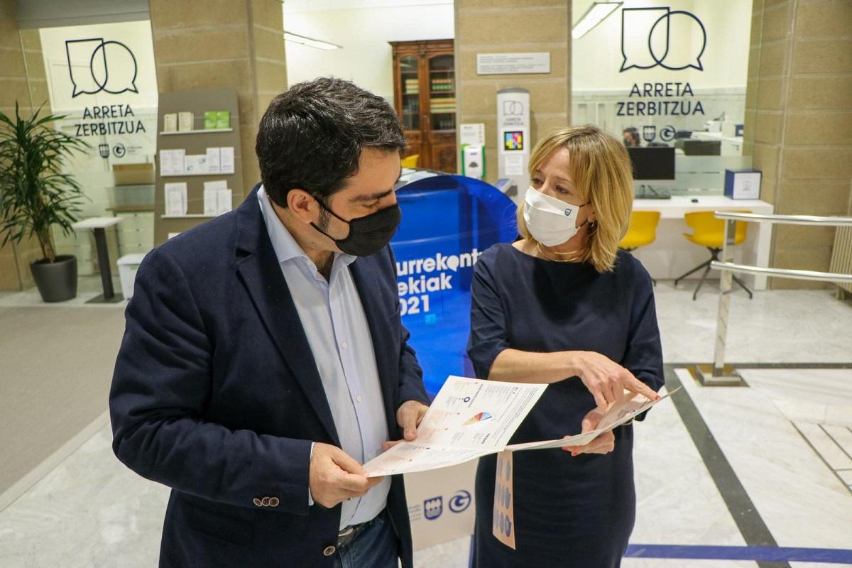 Mikel Pagola y Eider Mendoza presentando los Presupuestos Abiertos. Foto: Diputación