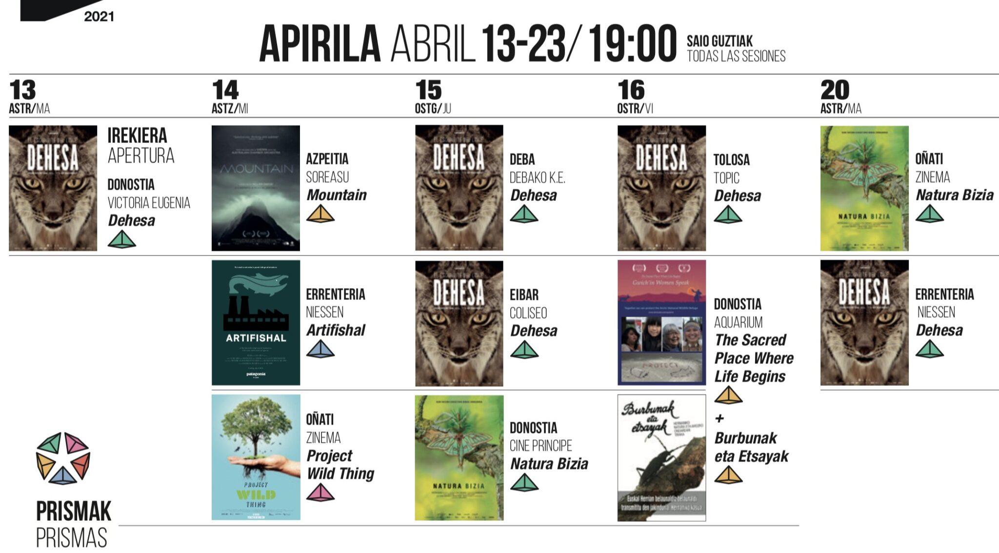 GNAT calendario scaled - Despega en Gipuzkoa la muestra de cine de la naturaleza (GNAT)