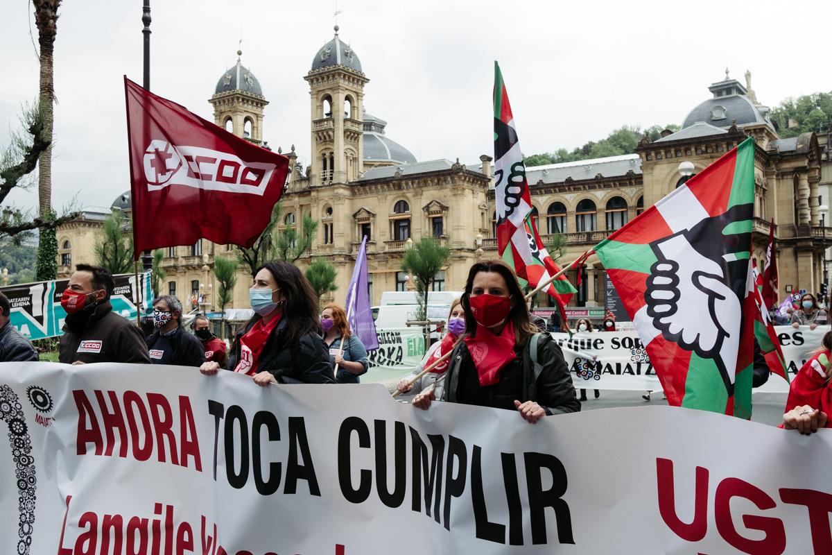 donostitik manifestacion 1 de mayo 20 - 1 de Mayo: Miles de trabajadores recuperan las calles de Euskadi tras la ausencia en 2020