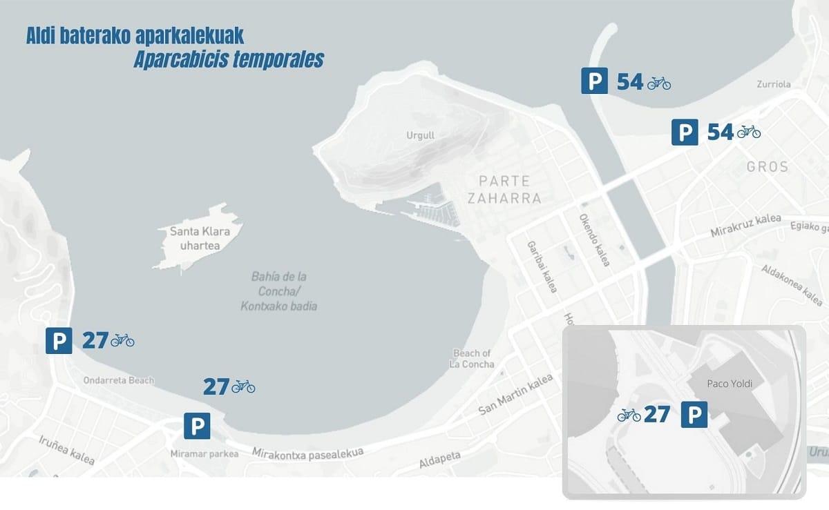 PLANOA - Donostia suma 189 aparcabicis temporales este verano