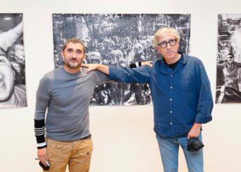 Ernesto Valerde y David Trueba en la inauguración. Foto: Real Sociedad
