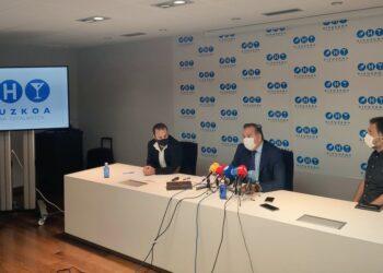 Rueda de prensa en Hostelería Gipuzkoa esta mañana. Foto: H.G.