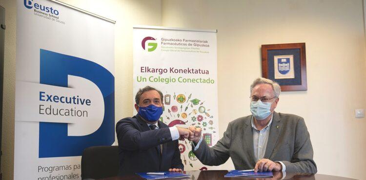 Miguel Ángel Gastelurrutia, presidente del Colegio Oficial de Farmacéuticos de Gipuzkoa y Álvaro de la Rica, decano de Deusto Business School. Foto: Deusto