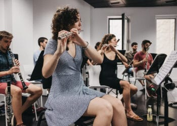 Ensayos de la EGO antes del concierto del domingo en el Kursaal dentro de la Quincena Musical. Foto: Santiago Farizano