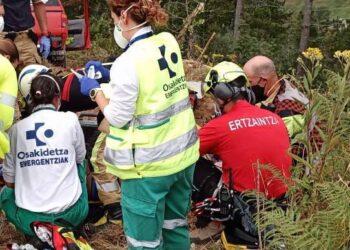 Accidente de un trabajador forestal. Foto: Bomberos
