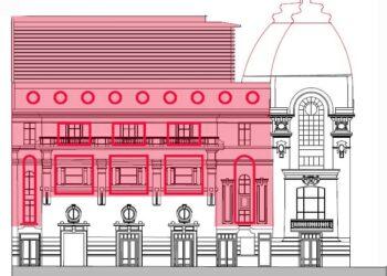 En rojo, las zonas del edificio sujetas a posibles cambios.