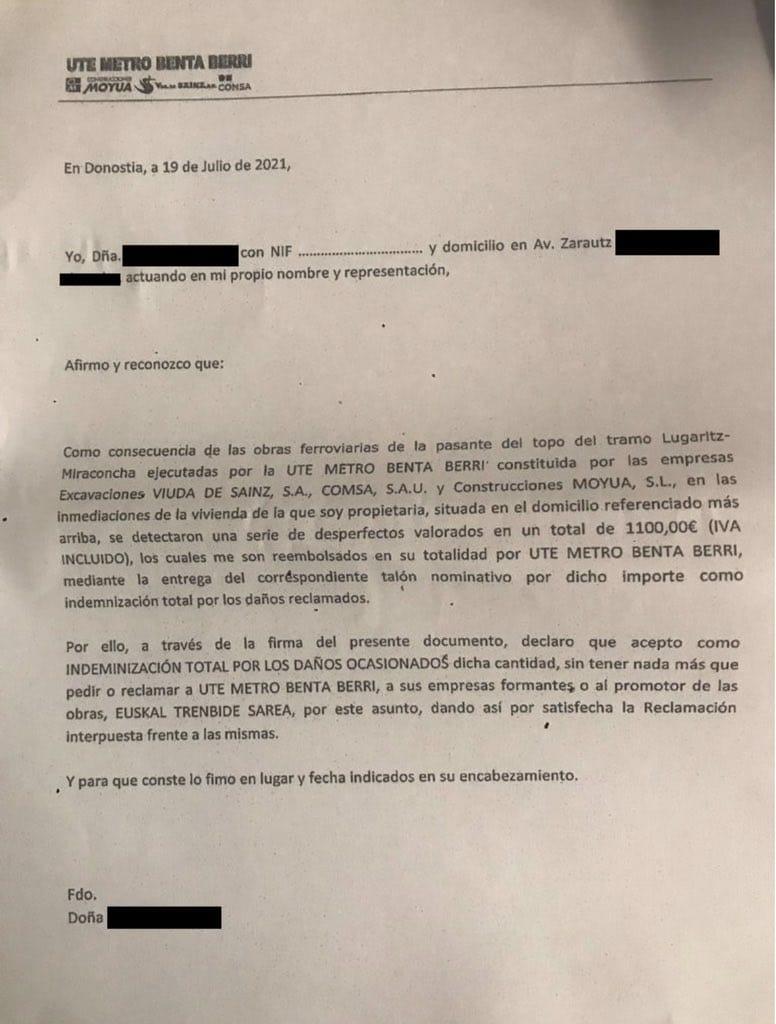 """carta - Obras del Metro: Las cartas de las indemnizaciones buscan """"acallar"""" a los perjudicados, denuncia EH Bildu"""