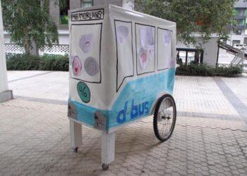 La maqueta del autobús que saldrá este fin de semana por el barrio de Morlans. Foto: Morlanstarrak