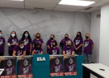 Comparecencia esta mañana en el sindicato ELA. Foto: ELA